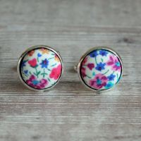 Liberty tana lawn silver plated cufflinks - Phoebe multicolour