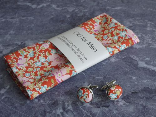 Liberty print pocket square and cufflinks