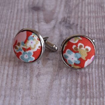 Floral Liberty tana lawn cufflinks - John orange