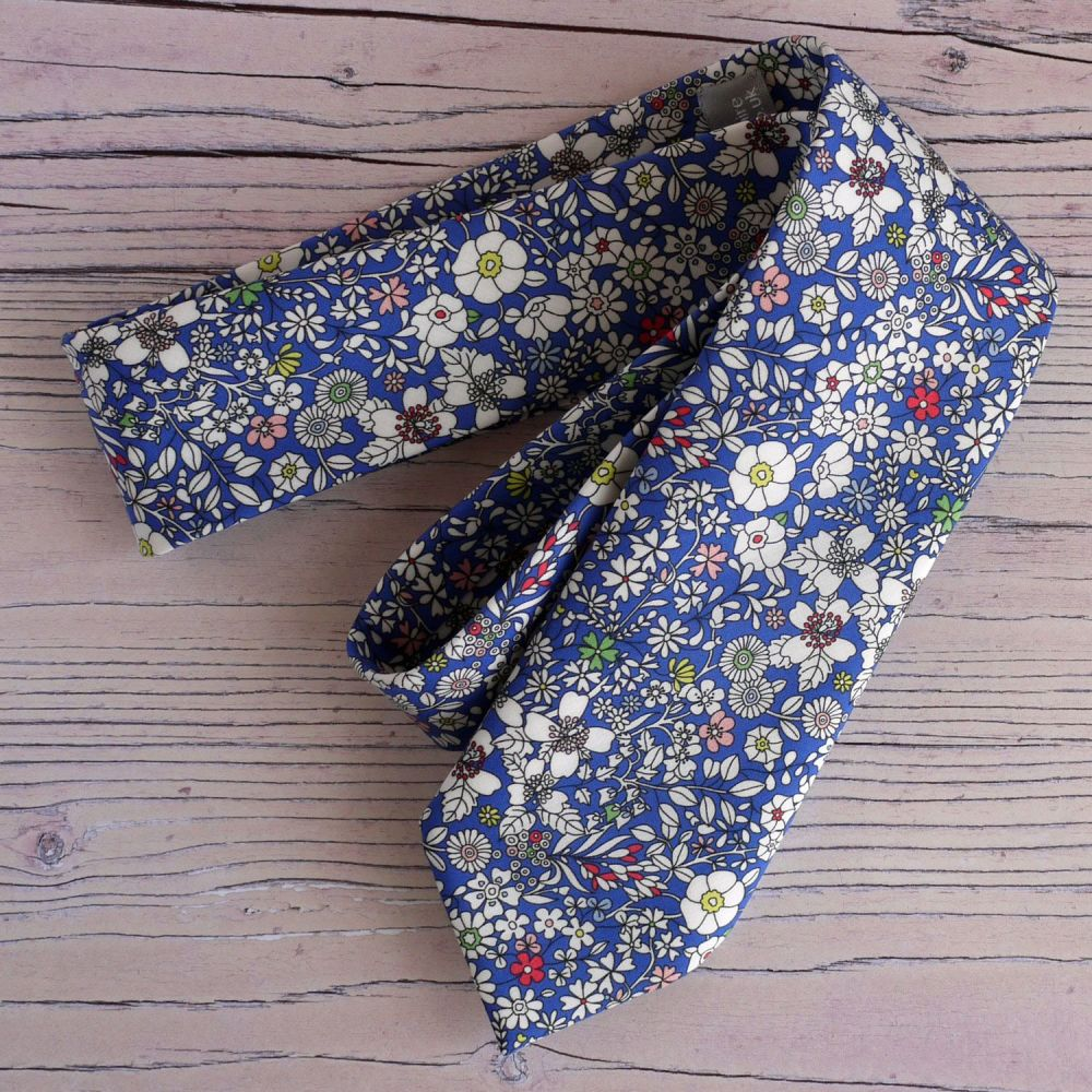 Blue floral Liberty print tie - June's Meadow