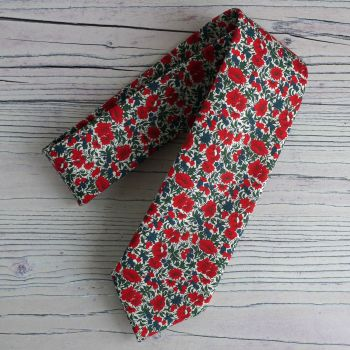 Floral Liberty print tie - Rosalind red and green tie