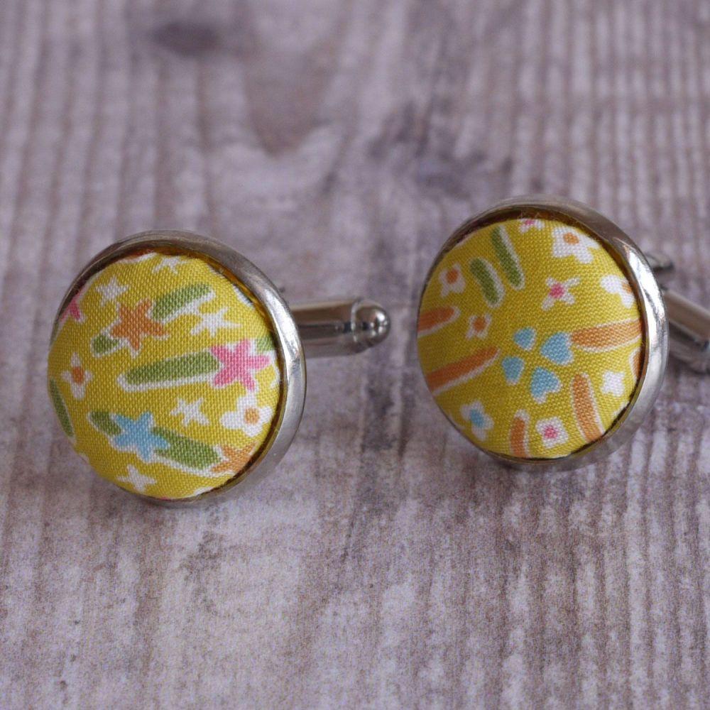 Floral Liberty tana lawn cufflinks - Kayoko yellow