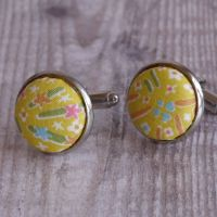 Floral Liberty tana lawn cufflinks - Kayoko yellow