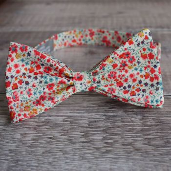Liberty print tana lawn bow tie - Phoebe coral