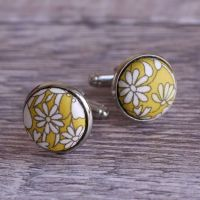 Floral Liberty print cufflinks - June's Meadow yellow