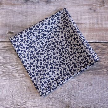 Blue hearts and butterflies pocket square - Liberty tana lawn Gracey