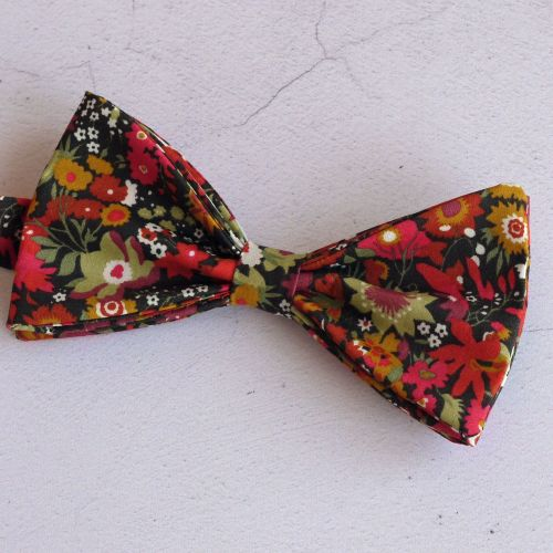 Manuela orange Liberty print floral bow tie
