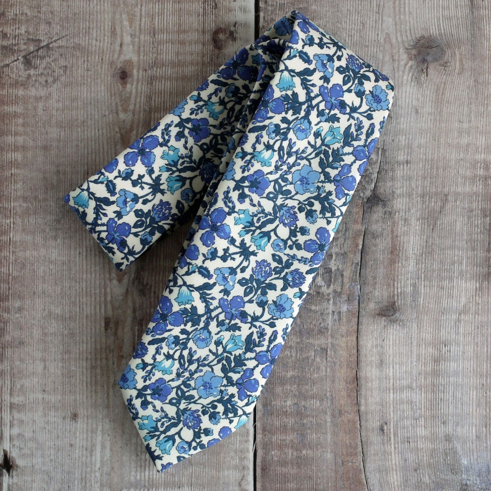 Custom order for 9 hand-stitched Liberty print ties, 1 pocket square and 1