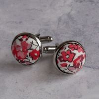 Liberty design Emma and Georgina cufflinks - pink floral cufflinks