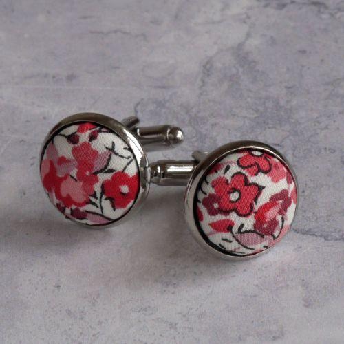 Liberty design Emma and Georgina cufflinks - pink floral cufflinks