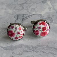 Liberty tana lawn silver plated cufflinks - Phoebe pink