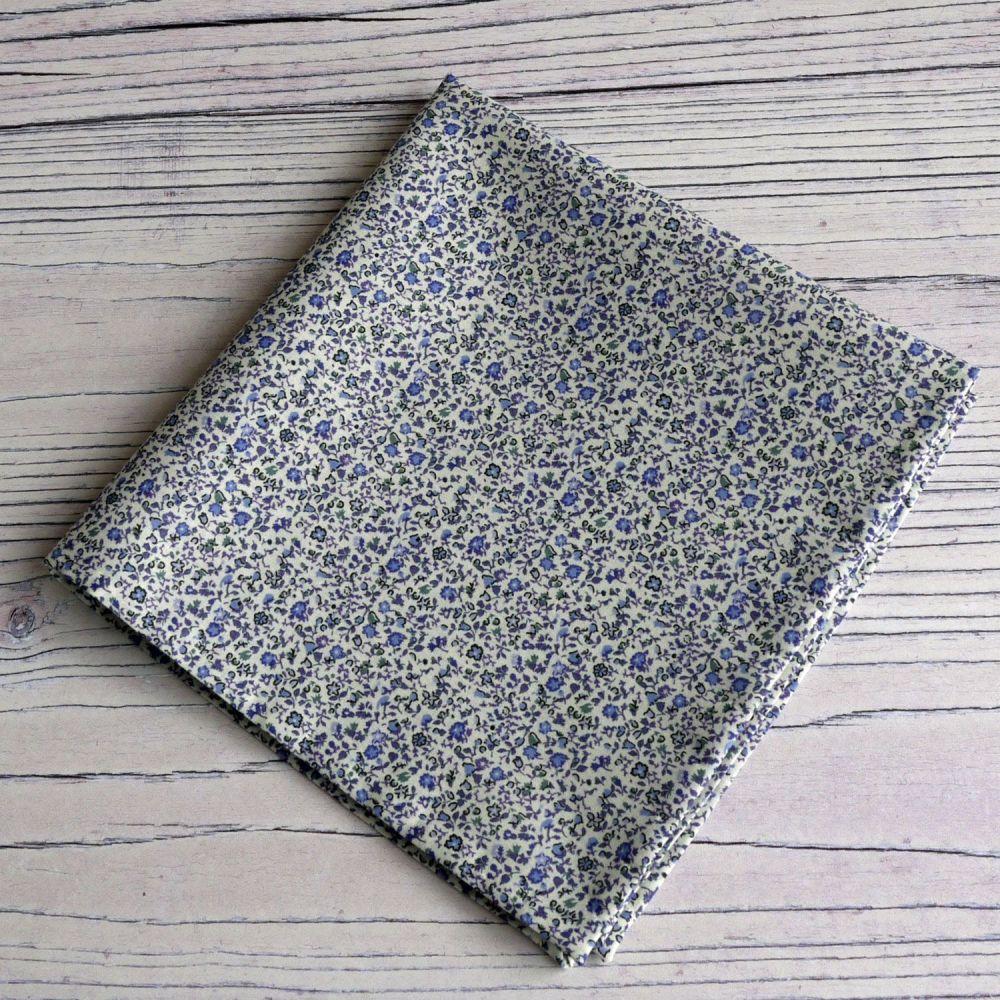 Blue floral pocket square - Liberty tana lawn Newland