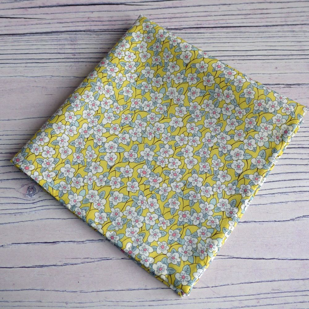 Yellow floral pocket square - Liberty tana lawn Ffion