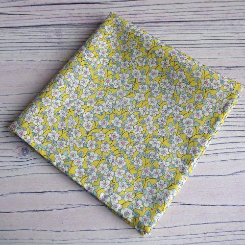 Yellow floral pocket square - Liberty tana lawn Ffion