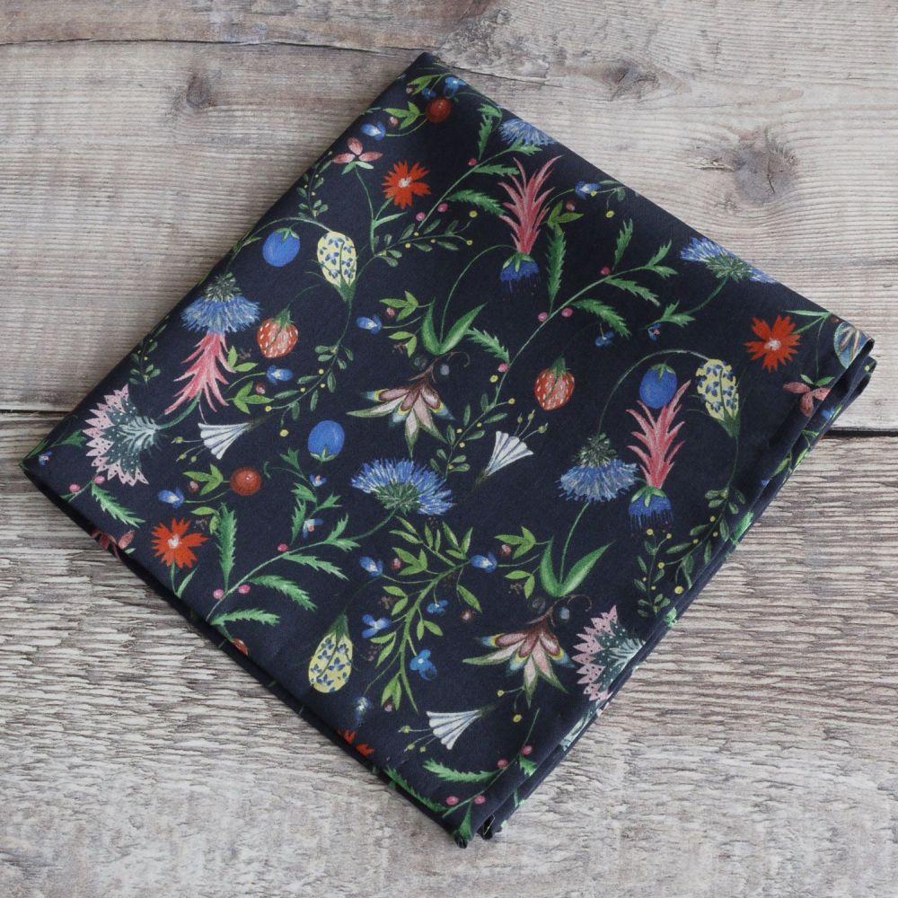 Blue floral pocket square - Liberty tana lawn Temptation Meadow