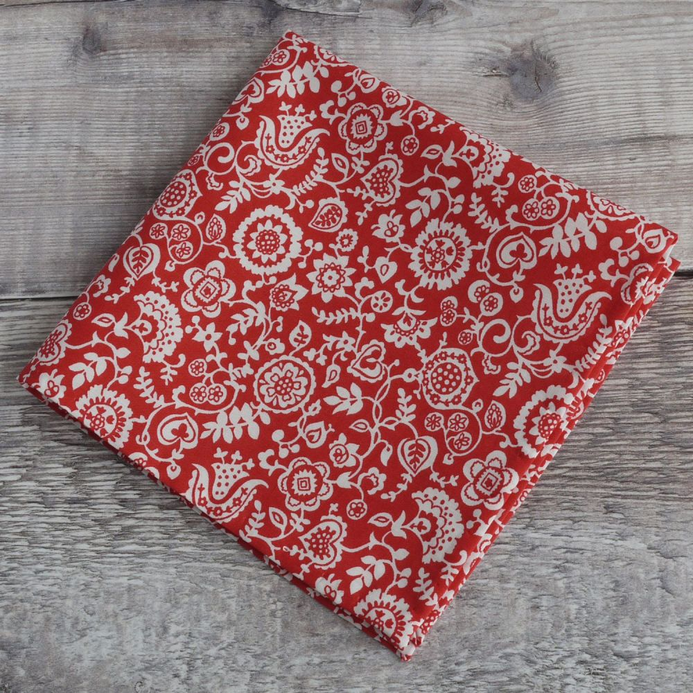 Mens pocket square - Liberty tana lawn Clare and Emily red