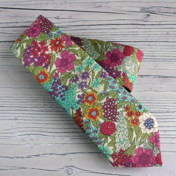 Hand-stitched floral Liberty tana lawn tie - Ciara bright