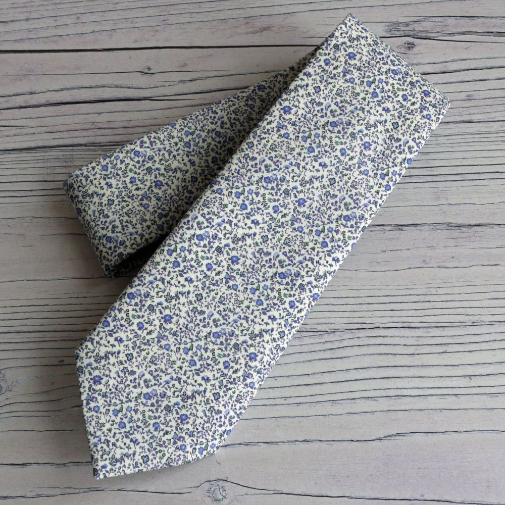 Men's handstitched Liberty tana lawn tie - Newland blue