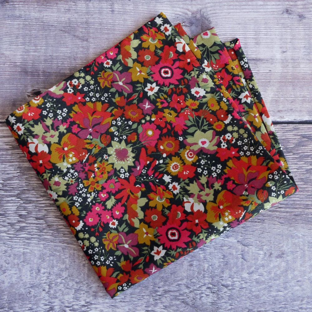 Floral pocket square - Liberty tana lawn Manuela orange