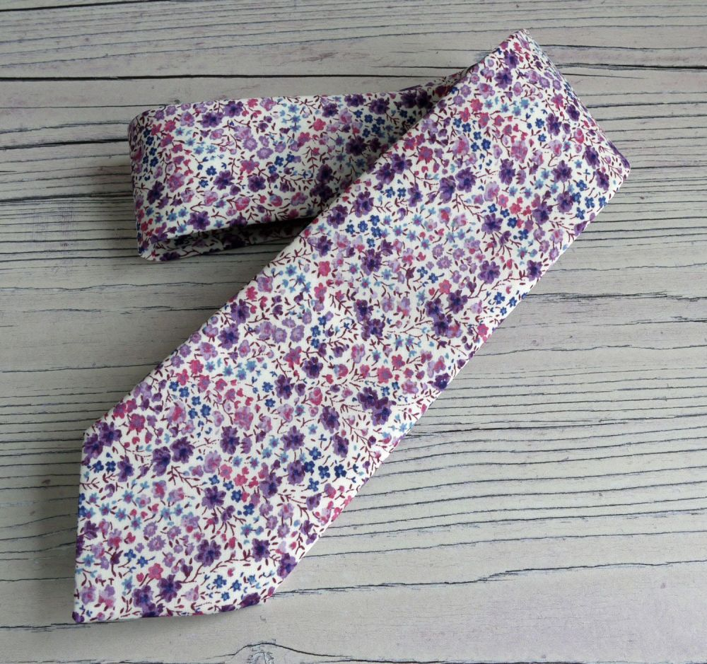 Floral Liberty print tie with matching pocket square - Phoebe purple