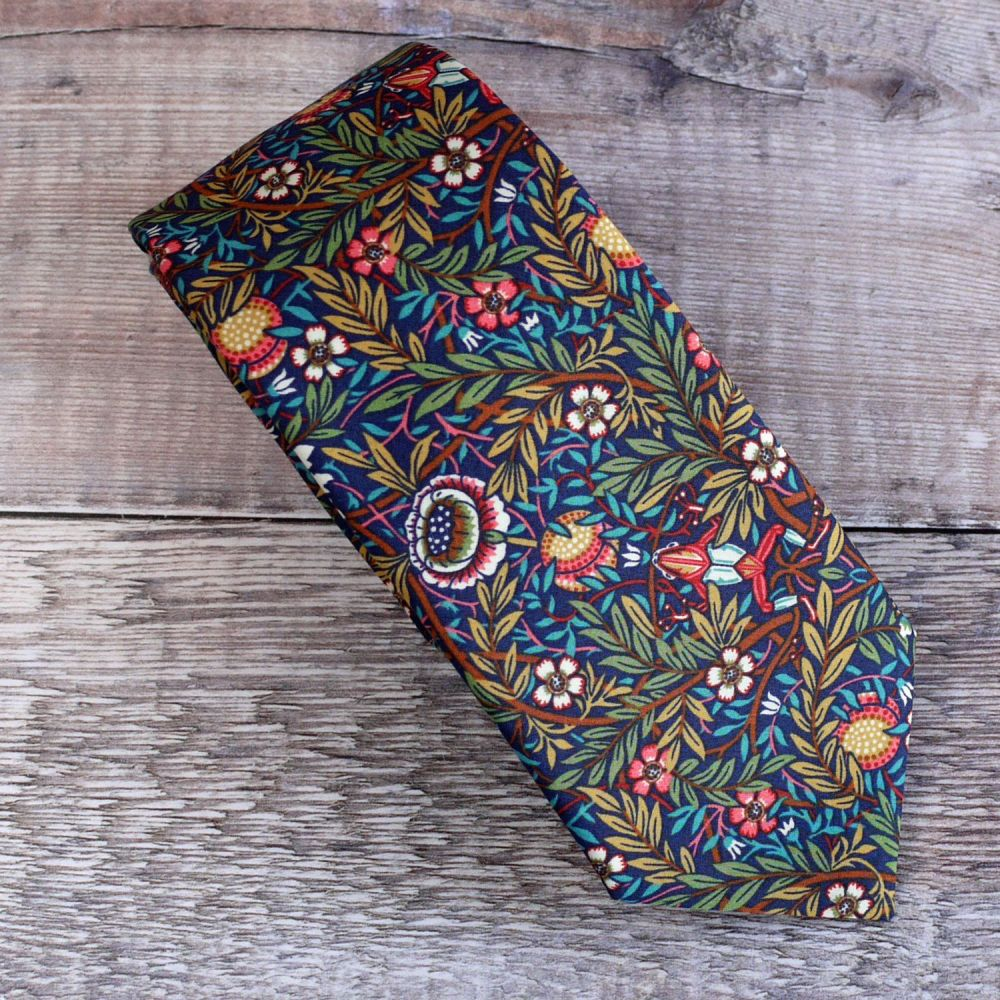 Custom order for 4 slim width hand-stitched Liberty print ties - Peach Port