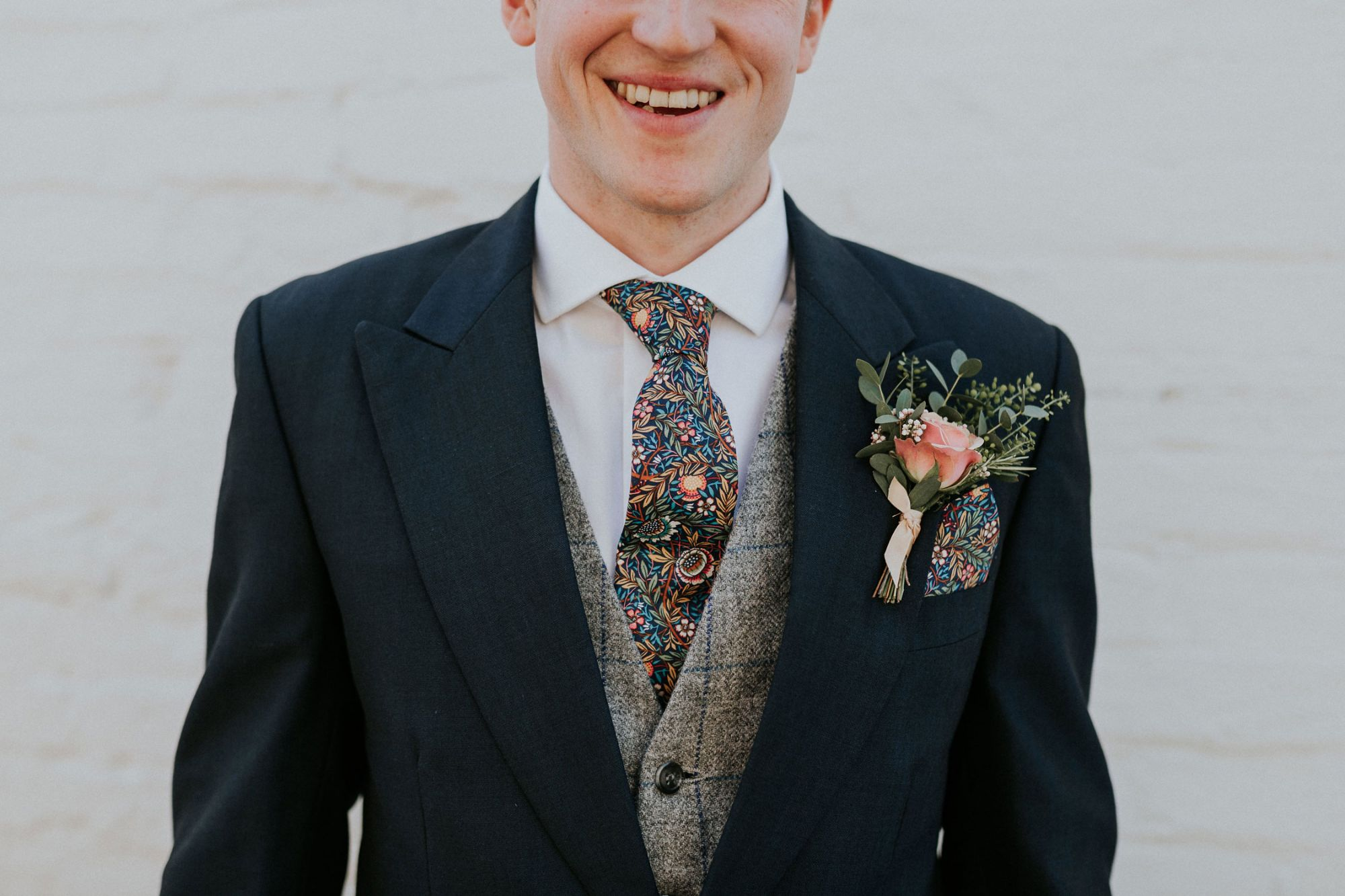 Liberty print wedding tie and matching pocket square