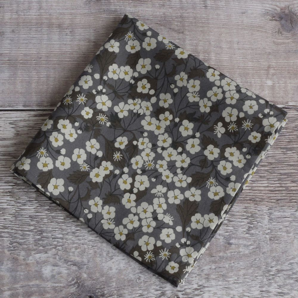 Gentleman's pocket square - Liberty print Mitsi grey brown