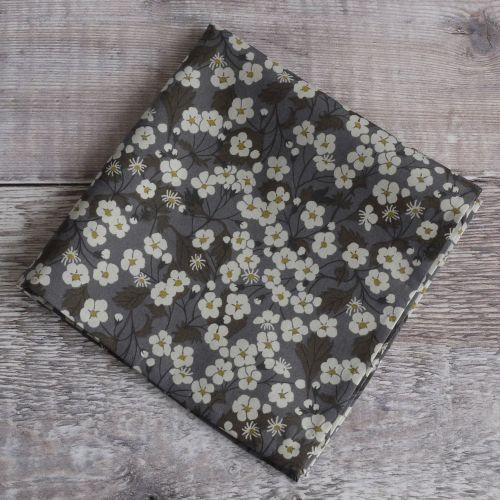 Gentleman's pocket square - Liberty print Mitsi grey brown