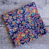 Blue and orange floral pocket square - Liberty tana Tatum