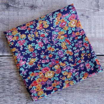 Blue and orange floral pocket square - Liberty tana Tatum