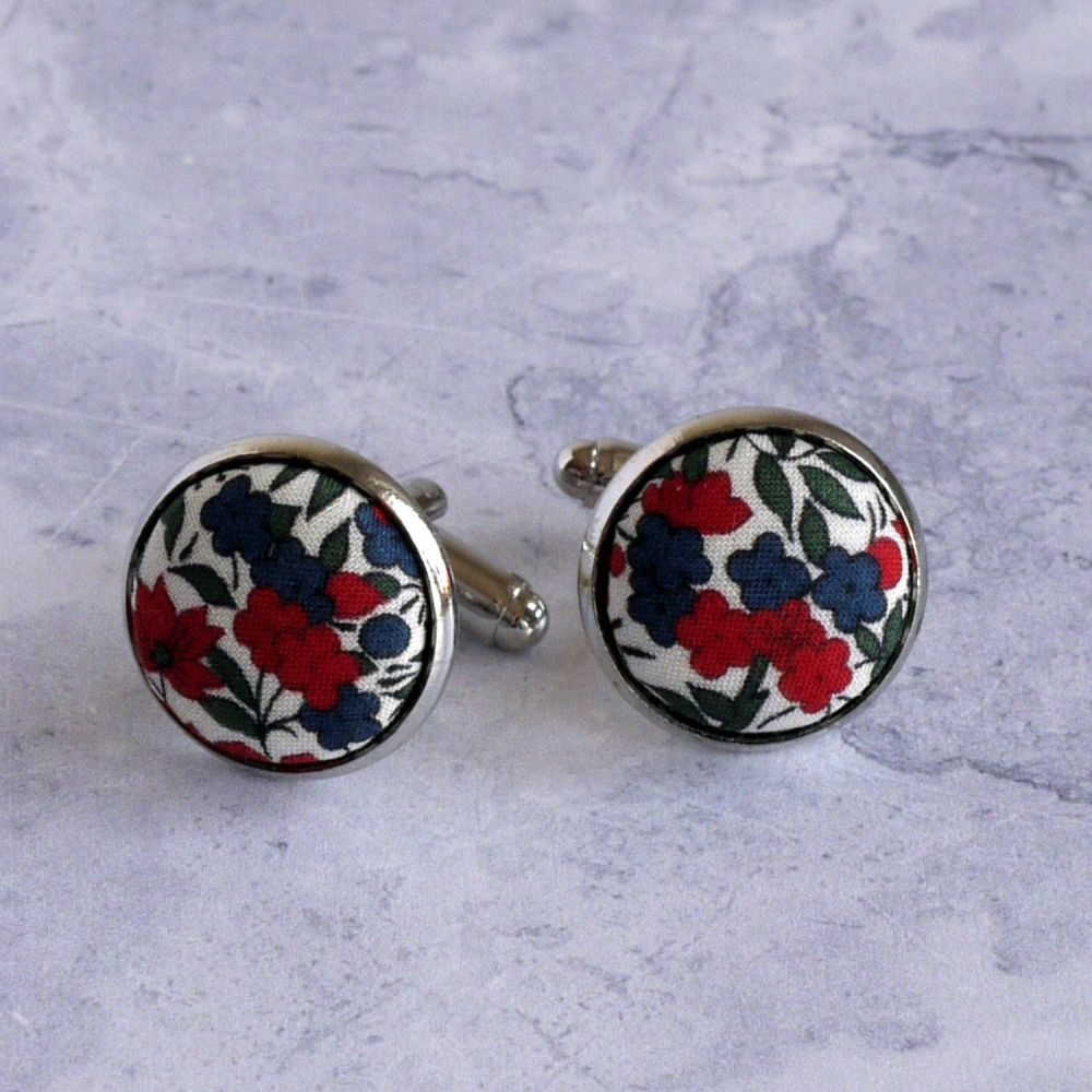 Red floral Liberty tana lawn silver plated cufflinks - Rosalind