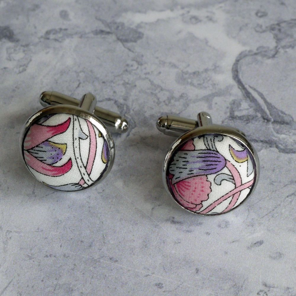 William Morris design Lodden cufflinks - Liberty print Lodden purple cuffli