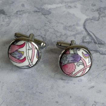 William Morris design Lodden cufflinks - Liberty print Lodden purple cufflinks