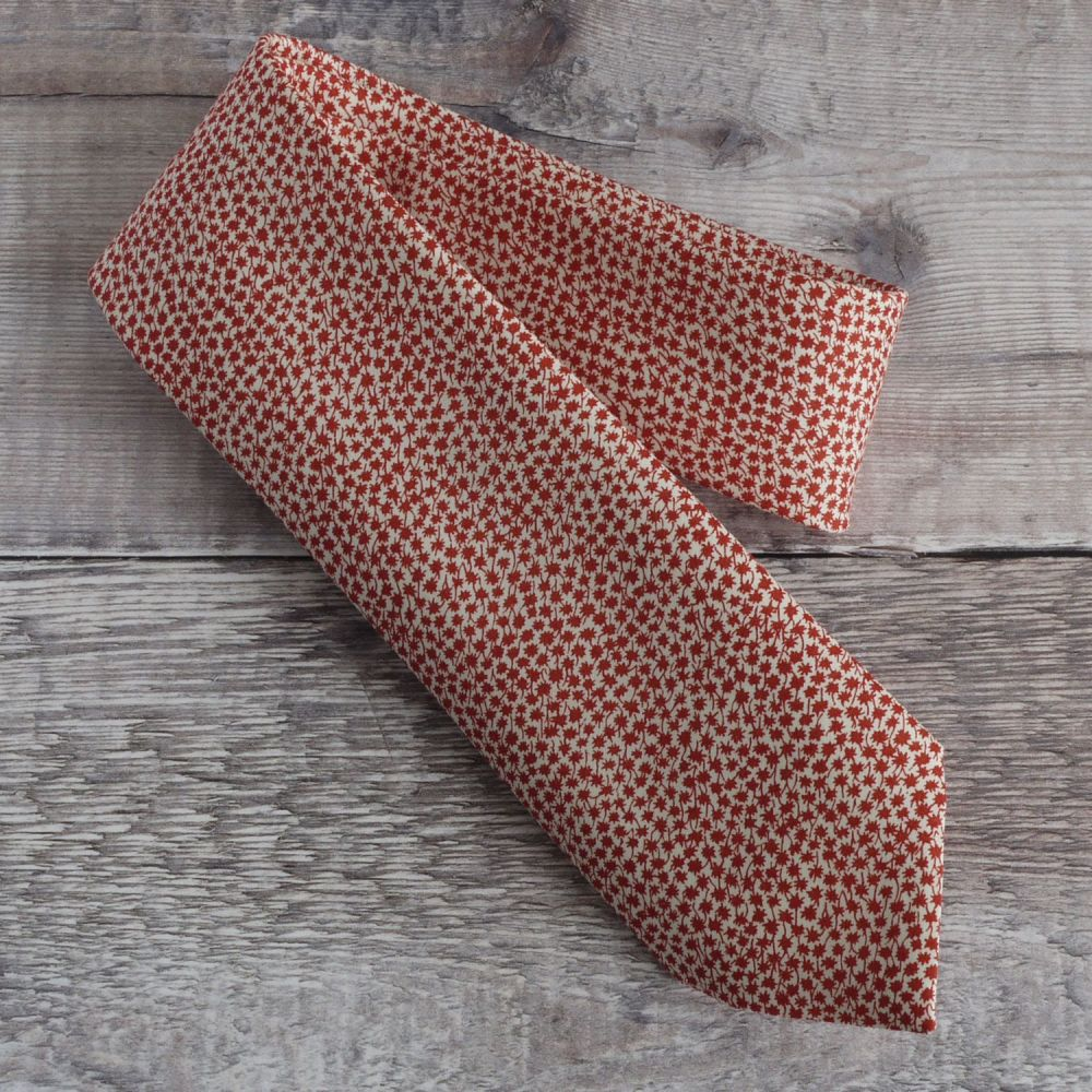 Hand stitched Liberty tana lawn tie - Marco - red tie