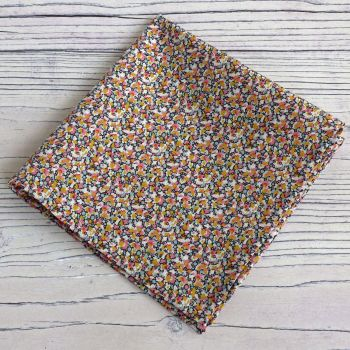 Liberty print pocket square - Pepper orange and pink