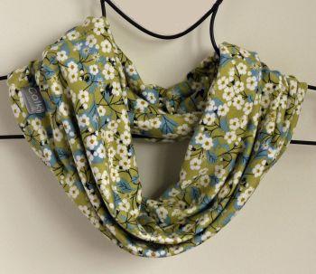 Jersey circle scarf - Mitsi green - made from Liberty fabric