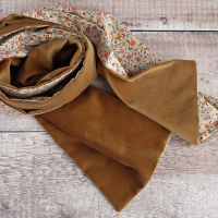 Tan velveteen and Liberty Le Temps Viendra scarf