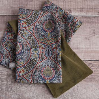 Olive velveteen and Liberty Gambier scarf