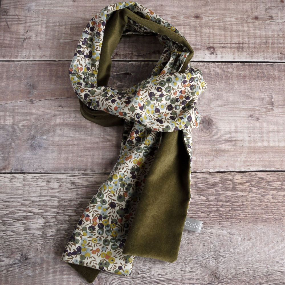 Liberty Wiltshire Berry and olive velveteen scarf