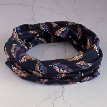 Jersey circle scarf - Woven Leaves navy made from Liberty fabric