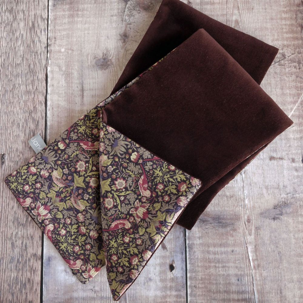 Liberty Strawberry Thief and Brown Velveteen Scarf