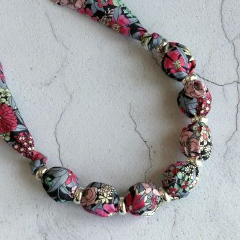 Ciara grey and pink floral Liberty print necklace