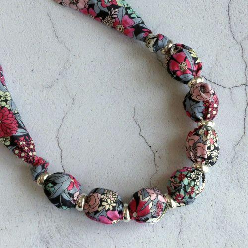 Ciara grey and pink floral Liberty print necklace