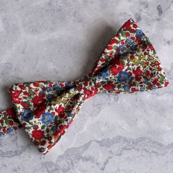 Floral Liberty print bow tie - Emma & Georgina red and blue
