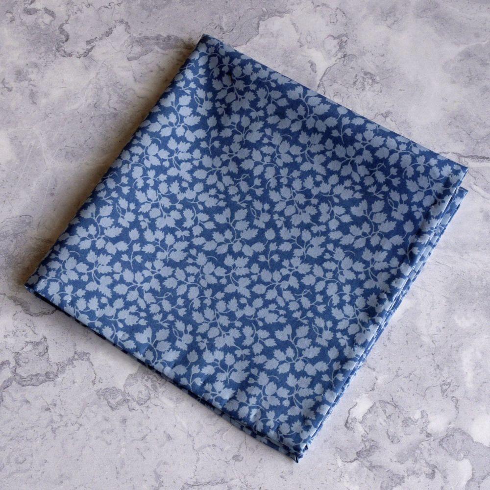 Gentleman's blue pocket square - Liberty tana lawn Glenjade