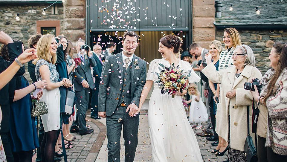 Floral Liberty print ties for a Lake District wedding