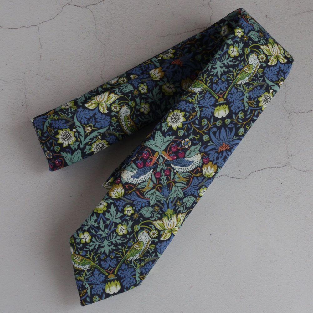 Gentleman's hand stitched tie - Strawberry Thief blue