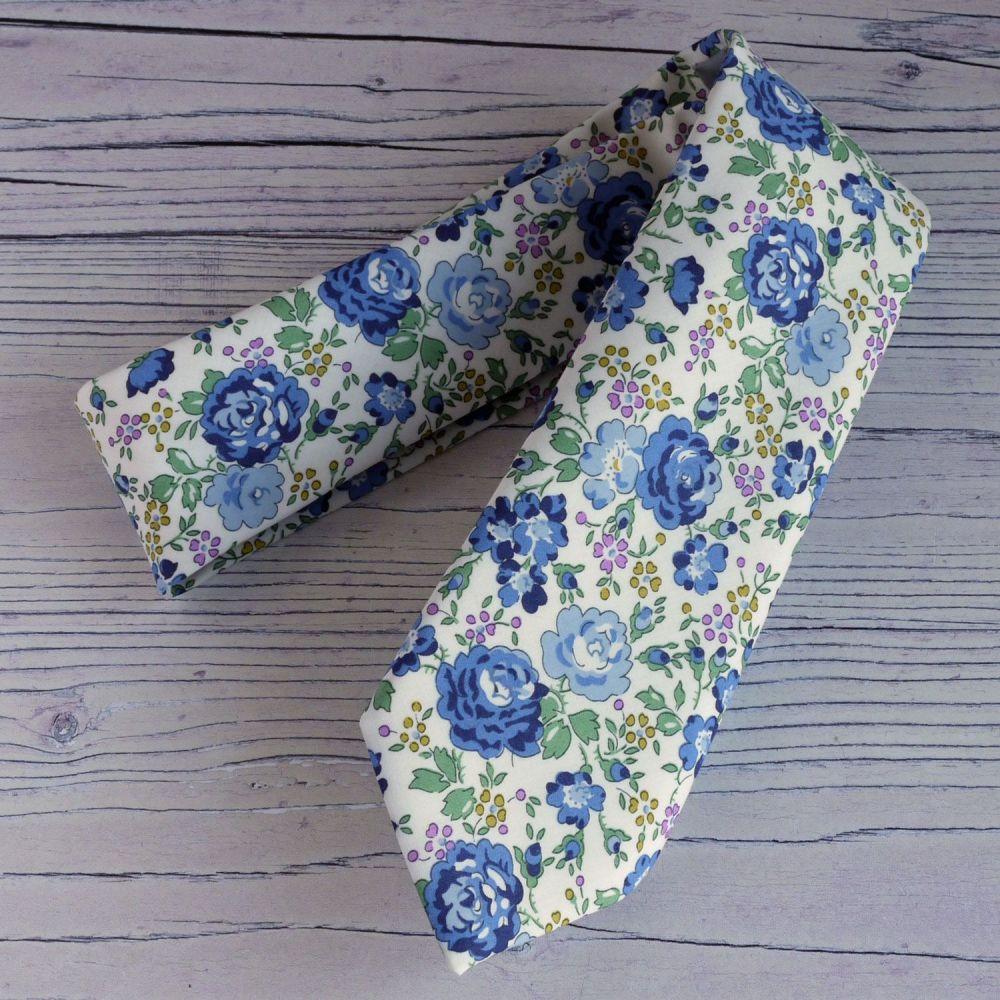 Floral Liberty print tie - Felicite blue
