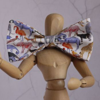 Fun Zoo Animal Liberty print bow tie - Queue for the Zoo flamingo pink