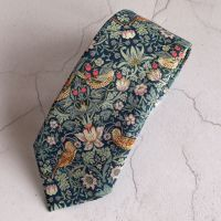 Gentleman's hand stitched tie - Strawberry Thief green